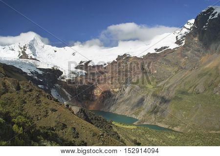 Stunning view of lake Tullpacocha with the glaciers of mount Tullparahu at Cordillera Blanca, Peru