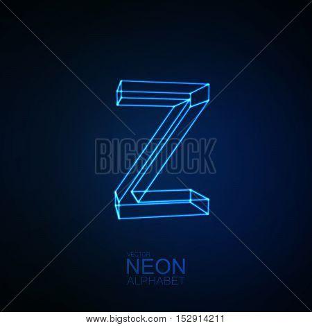 Neon 3D letter Z. Typographic element. Part of glow neon alphabet. Vector illustration