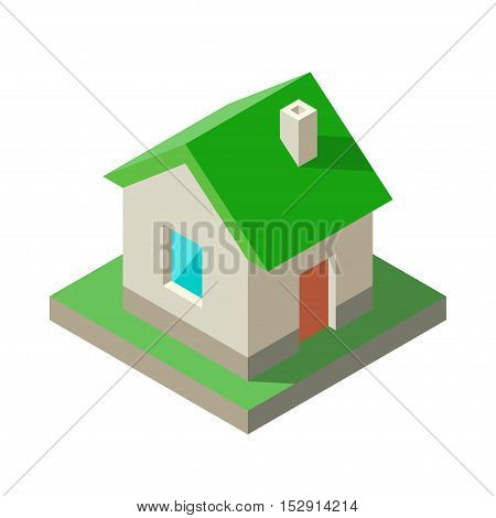 Isometric Eco green House Icon logo. Vector illustration Solid colors