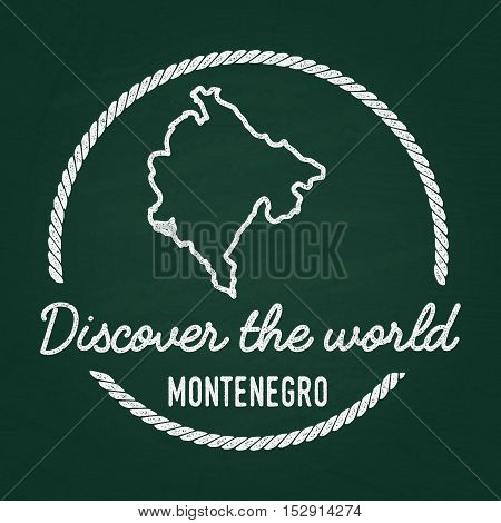 White Chalk Texture Hipster Insignia With Montenegro Map On A Green Blackboard. Grunge Rubber Seal W