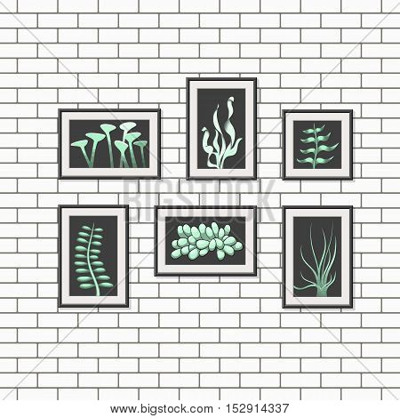 Illustration of abstract pictures on a wall