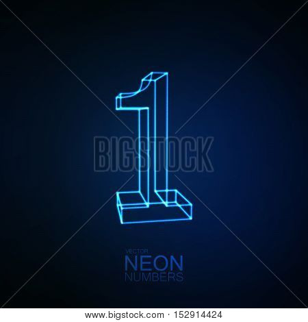 Neon 3D number 1. Typographic element. Part of glow neon alphabet. Digit one. Vector illustration