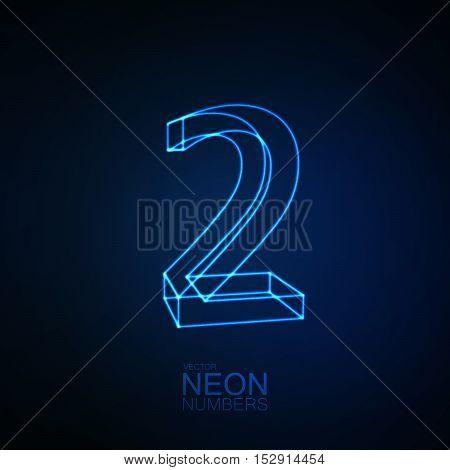 Neon 3D number 2. Typographic element. Part of glow neon alphabet. Digit two. Vector illustration