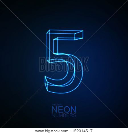 Neon 3D number 5. Typographic element. Part of glow neon alphabet. Digit five. Vector illustration