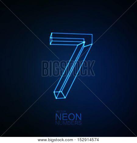 Neon 3D number 7. Typographic element. Part of glow neon alphabet. Digit seven. Vector illustration