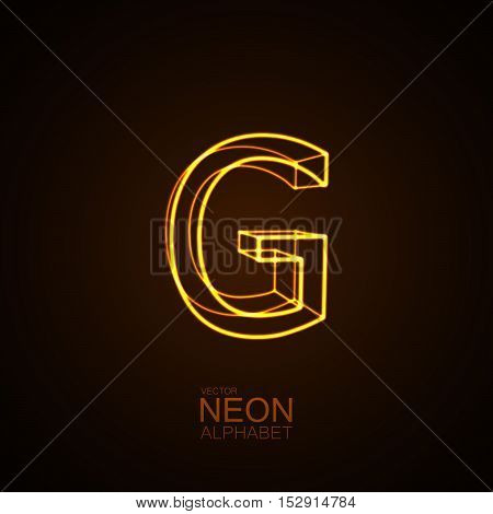 Neon 3D letter G. Typographic vector element for design. Part of glow neon alphabet. Vector illustration