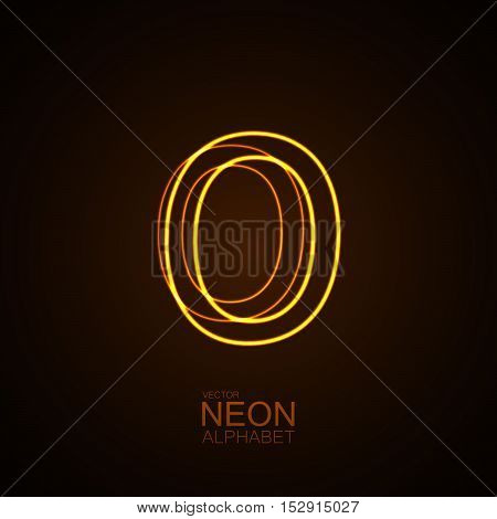 Neon 3D letter O. Typographic vector element for design. Part of glow neon alphabet. Vector illustration