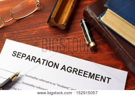 Separation agreement form on an office table.