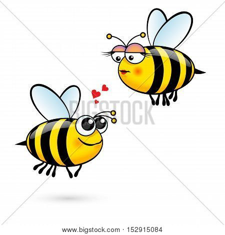 Cute Cartoon Bees in Love. Illustration on White