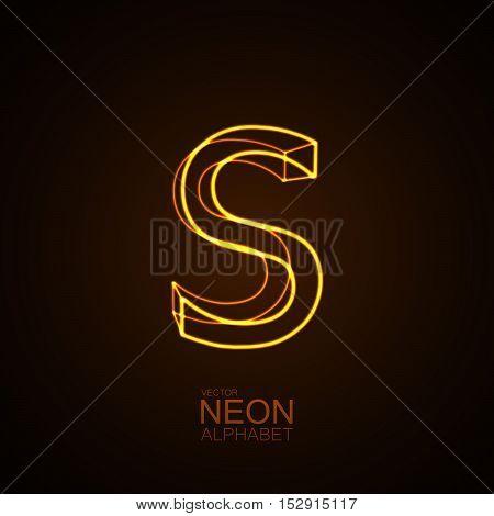 Neon 3D letter S. Typographic vector element for design. Part of glow neon alphabet. Vector illustration