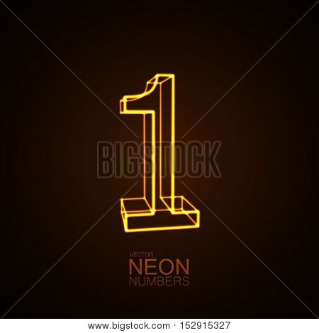 Neon 3D number 1. Typographic vector element for design. Part of glow neon alphabet. Digit one. Vector illustration