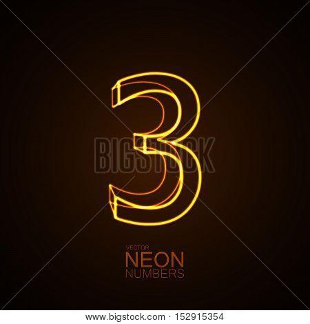Neon 3D number 3. Typographic vector element for design. Part of glow neon alphabet. Digit three. Vector illustration