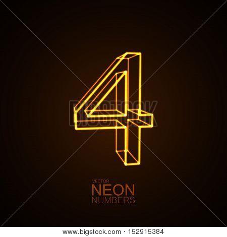 Neon 3D number 4. Typographic vector element for design. Part of glow neon alphabet. Digit four. Vector illustration