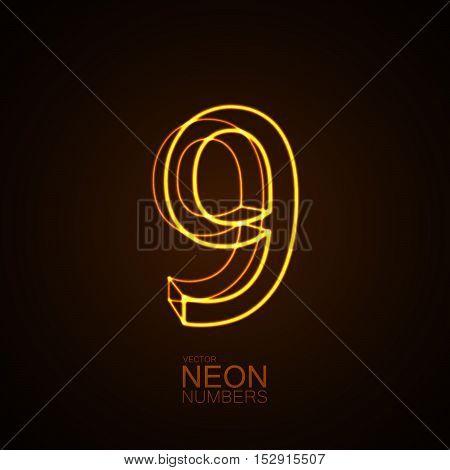 Neon 3D number 9. Typographic vector element for design. Part of glow neon alphabet. Digit nine. Vector illustration