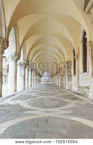 Archway underneath the Doge's Palace in San Marco Square (Venice Italy). Vertically.
