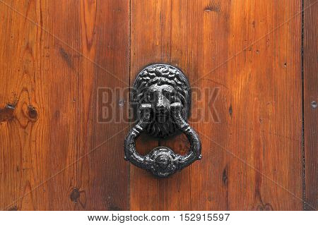 Lion Head Door Knocker on wooden background