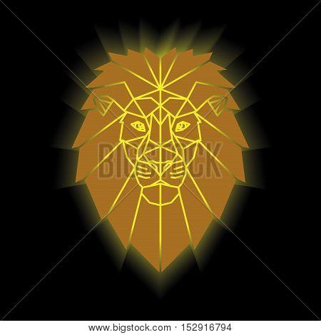 Gold lion head geometric lines silhouette isolated on black background vintage vector design element illustration. Lion low poly portrait. Symmetric gold gradient.