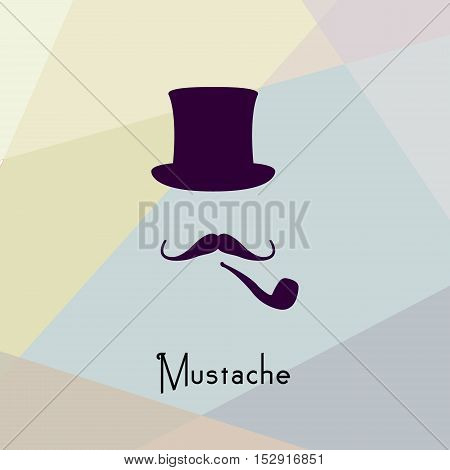 Vintage style silhouette people with hats mustache and pipe.