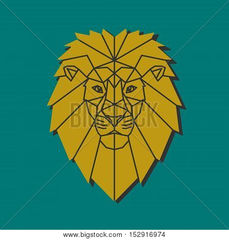 Polygonal emblem middle age lion. Low poly character. Lion head volume vector logo. Animal design template elements for your corporate identity or sport team branding.