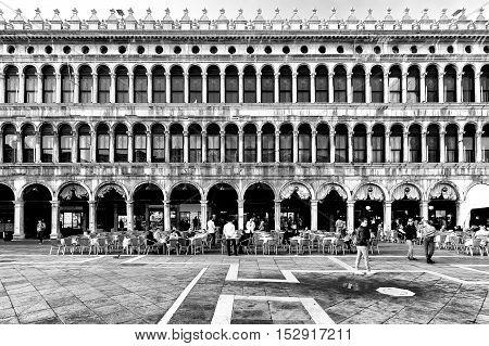 Venice Italy - October 16 2016:Tourists in Piazza San Marco in Venice the famous Italian romantic city
