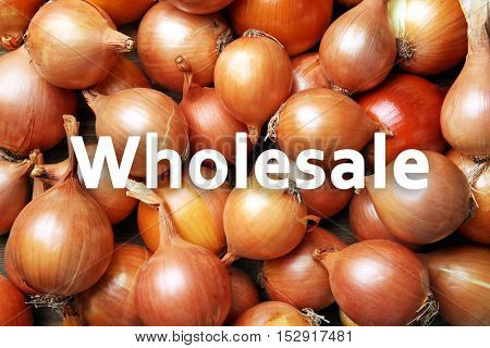 Word WHOLESALE on background. Fresh onions, closeup. Trading concept.