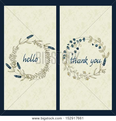 vector set with two greeting cards with hand drawn words hello and thank you in a circle flower frame