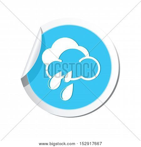 Weather forecast rain icon on the round sticker