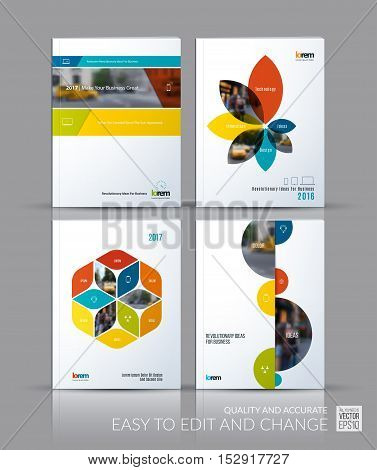 Brochure template layout collection, cover design annual report, magazine, flyer in A4 with banners, flowers, hexagon, half circles for business, building. Abstract vector design set.