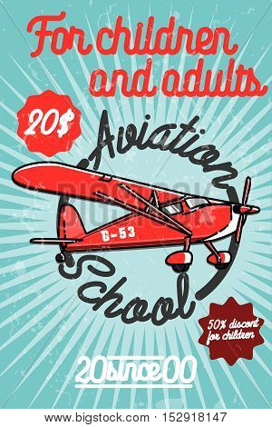 Color vintage Aviation poster. Abstract vector design. Air poster company corporate.