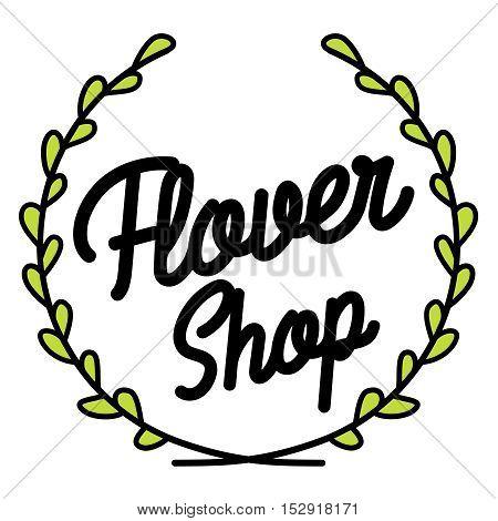 Flower shop vector logo, emblem, sticker, sign. Template design element for business related to flowers - delivery, gardening, florist.