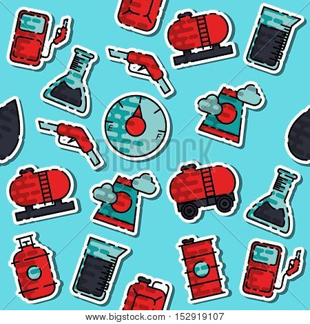 Colored oil industry pattern on a colorful background. Vector illustration, EPS 10
