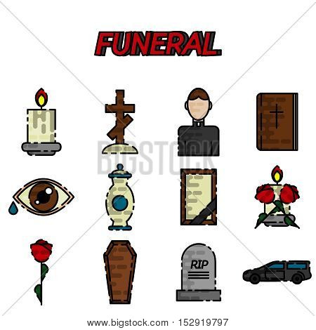 Funeral icons flat set with ash candle church isolated vector illustration