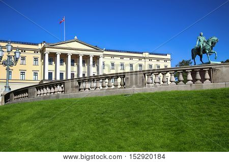 The Royal Palace and statue of King Karl Johan XIV in Oslo Norway