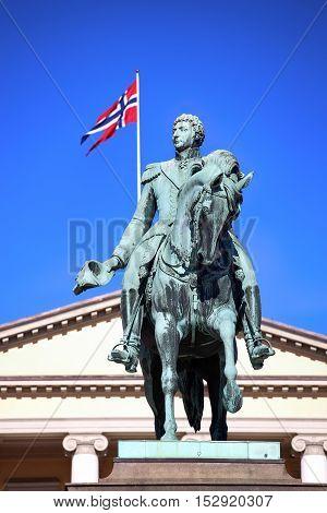 Statue of Norwegian King Karl Johan XIV in Oslo Norway