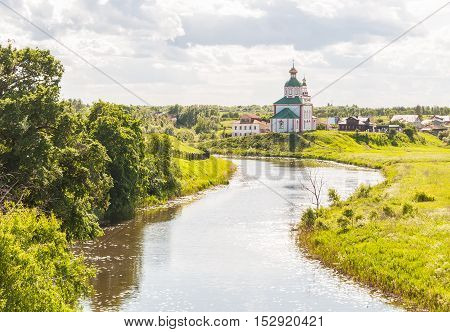 Church of Elijah the Prophet on Ivanova mountain or Elias Church - Orthodox church in Suzdal on the banks of the Kamenka River Russia. Gold ring of Russia.