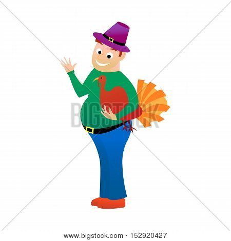 Thick happy man holds in one hand turkey is a holiday Thanksgiving. isolated on white background Cartoonin the style and flat