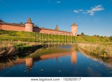 The wall with towers of the Saviour Monastery of St. Euthymius is a monastery in Suzdal Russia. Golden Ring of Russia.
