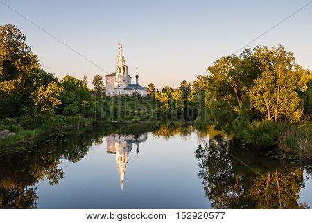 Cosmas and Damian Church or Kozmodemyansk church on Yarunovo mountain - Orthodox church in Suzdal on the left bank of the Kamenka River Russia. Gold ring of Russia.