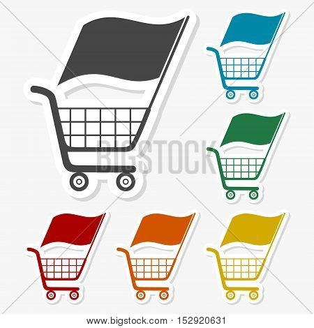 Multicolored paper stickers - Shopping Cart on gray background