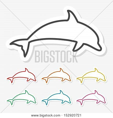 Multicolored paper stickers - Dolphins on gray background