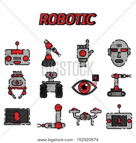 Robotic flat icon set. Vector illustration, EPS 10