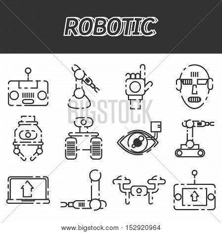 Robotic icon set. Vector illustration EPS 10