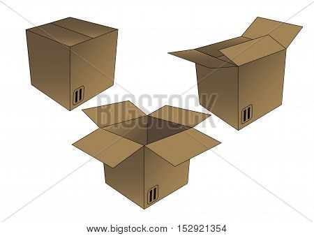 Unboxing sequence of a cardboard box with arrows indicating this side up. Packaging and delivery concept