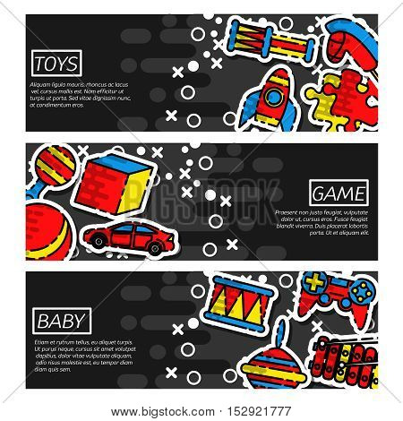 Set of Horizontal Banners about Toys. Vector illustration, EPS 10