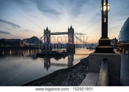 Golden Autumn Sunrise Over Tower Bridge In London.