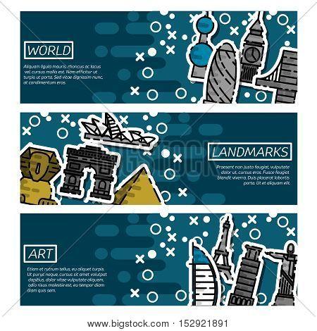 Set of Horizontal Banners about World landmarks. Vector illustration, EPS 10