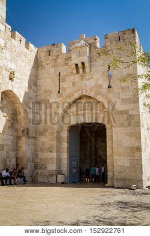 JERUSALEM, ISRAEL - OCTOBER 5: Jaffa Gate of the Old City of Jerusalem, Israel on October 5, 2016