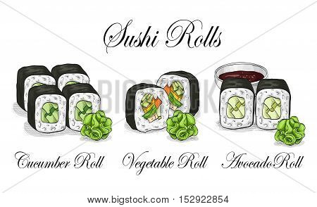 Vector sushi color sketch, set. Japanese cuisine, traditional food icon. Perfect isolated vector illustration