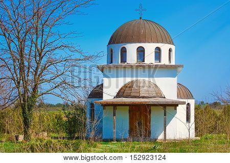 Abandoned Monastery Church under the Blue Sky