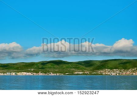 District of Bulgarian City on the Hilsides near the Black Sea